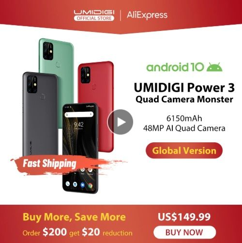 UMIDIGI Power 3 - Aliexpress - 25% СКИДКА